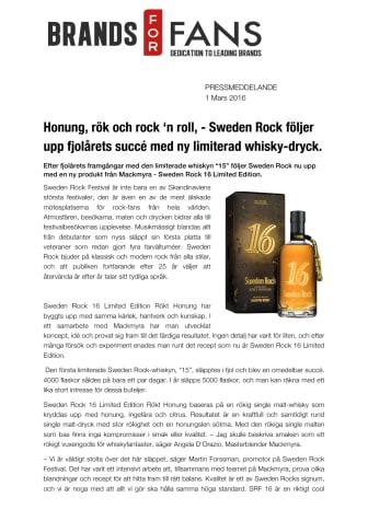 Honung, rök och rock 'n roll, - Sweden Rock följer upp fjolårets succé med ny limiterad whisky-dryck.