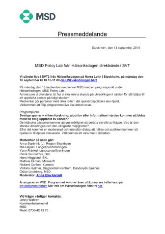 MSD Policy Lab från Hälsoriksdagen direktsänds i SVT