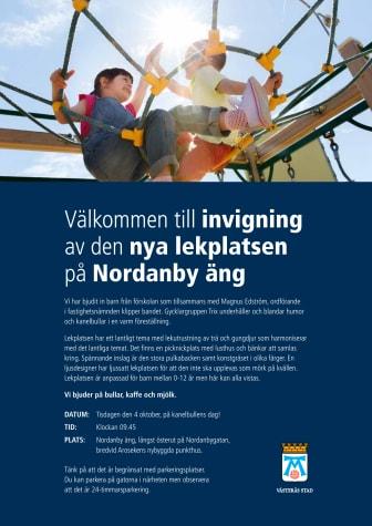 Inbjudan till invigning av lekplats på Nordanby äng