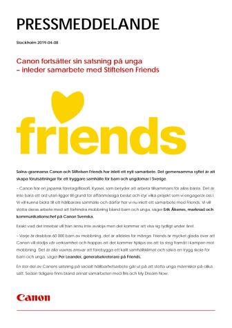Canon fortsätter sin satsning på unga  – inleder samarbete med Stiftelsen Friends