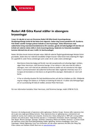 Rederi AB Göta Kanal ställer in säsongens kryssningar