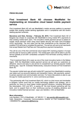 First Investment Bank AD chooses MeaWallet for implementing an innovative cloud based mobile payment service