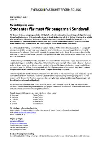 Ny kartläggning visar: Studenter får mest för pengarna i Sundsvall