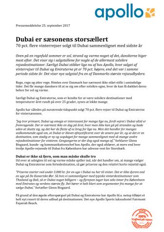 Dubai er sæsonens storsællert