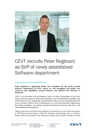 CEVT recruits Peter Rogbrant as SVP of newly established Software department