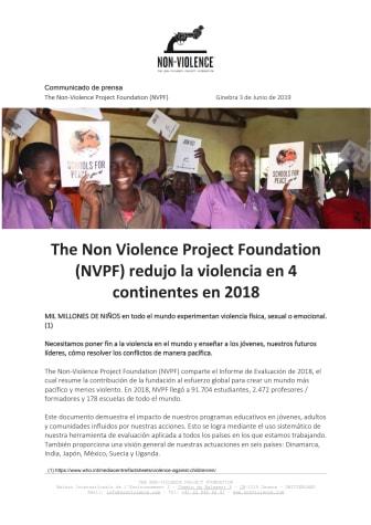 Espanol - The Non Violence Project Foundation (NVPF) redujo la violencia en 4 continentes en 2018