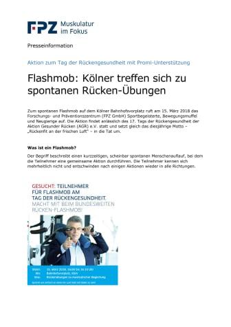 Flashmob: Kölner treffen sich zu spontanen Rückenübungen - Aktion zum Tag der Rückengesundheit mit Promi-Unterstützung