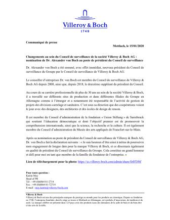 Changements au sein du Conseil de surveillance de la société Villeroy & Boch AG : nomination de Dr. Alexander von Boch au poste de président du Conseil de surveillance