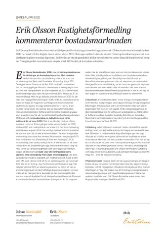 Erik Olson Fastighetsförmedling kommenterar bostadsmarknaden 19 februari 2021