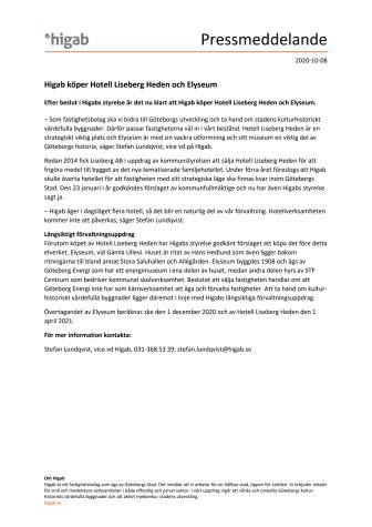Higab köper Hotell Liseberg Heden och Elyseum