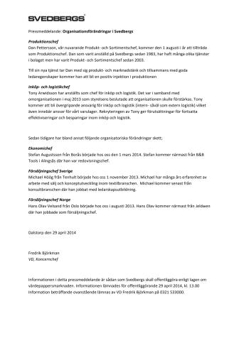 Organisationsförändringar i Svedbergs