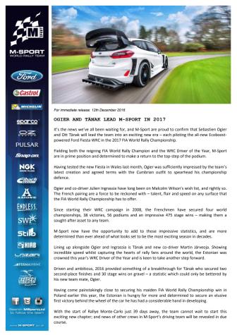 M-Sport introducerer Driver Line-Up til den nye 2017 Ford Fiesta WRC