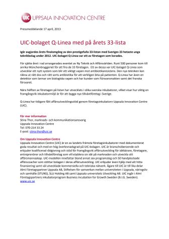 UIC-bolaget Q-Linea med på årets 33-lista