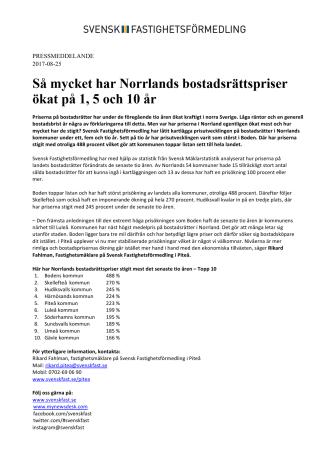 Så mycket har Norrlands bostadsrättspriser ökat på 1, 5 och 10 år