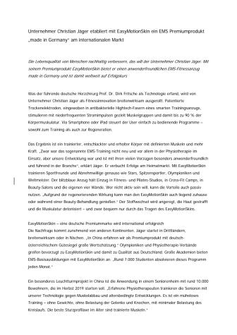 """Unternehmer Christian Jäger etabliert mit EasyMotionSkin ein EMS Premiumprodukt """"made in Germany"""" am internationalen Markt"""