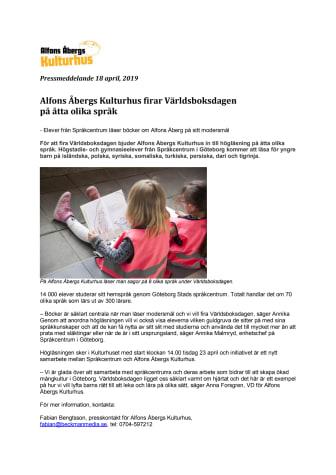 Alfons Åbergs Kulturhus firar Världsboksdagen på åtta olika språk