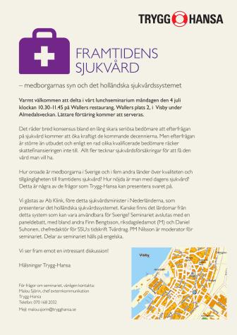 Seminarium i Almedalen: Framtidens sjukvård – medborgarnas syn och det holländska sjukvårdssystemet