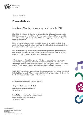 Scenkonst Sörmland lanserar ny musikserie år 2021