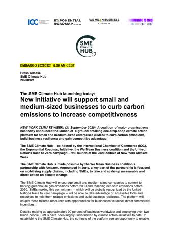 SME Climate Hub: Press release