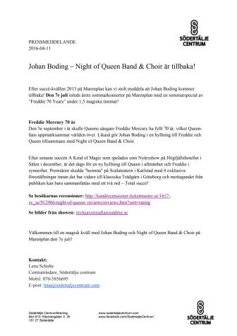 Johan Boding – Night of Queen Band & Choir är tillbaka!