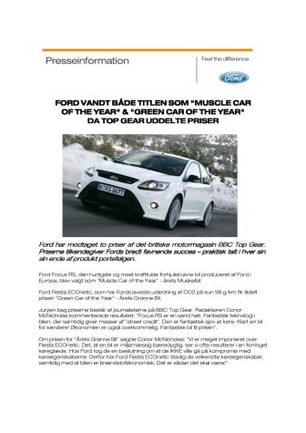"""FORD VANDT TOP GEAR TITLEN SOM BÅDE """"MUSCLE CAR OF THE YEAR"""" & """"GREEN CAR OF THE YEAR"""""""