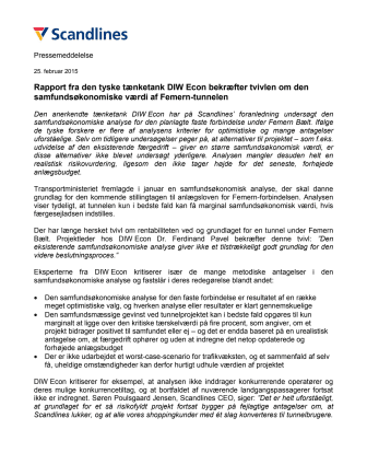 Rapport fra den tyske tænketank DIW Econ bekræfter tvivlen om den samfundsøkonomiske værdi af Femern-tunnelen