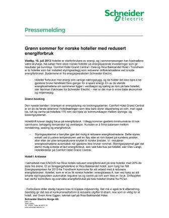 Grønn sommer for norske hoteller med redusert energiforbruk