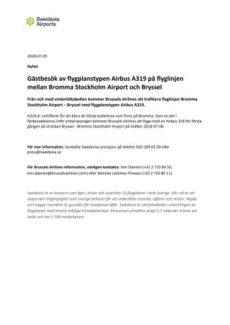 Gästbesök av flygplanstypen Airbus A319 på flyglinjen mellan Bromma Stockholm Airport och Bryssel