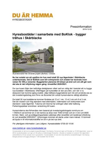 Hyresbostäder i samarbete med BoKlok - bygger trähus i Skärblacka
