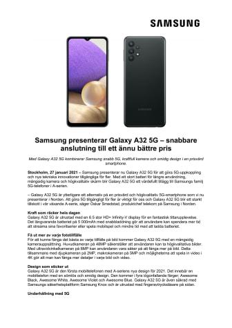 Samsung presenterar Galaxy A32 5G – snabbare anslutning till ett ännu bättre pris