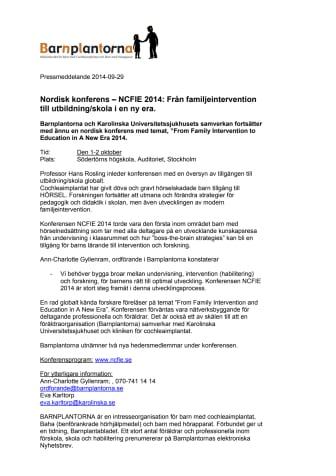 Nordisk konferens-NCFIE 2014: Från familjeintervention till utbildning/skola i en ny era