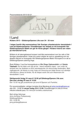 I Land NUdans 2012 – GöteborgsOperans Lilla scen 24 - 25 mars