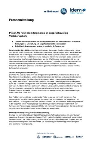 Pistor AG nutzt idem telematics im anspruchsvollen Verteilerverkehr