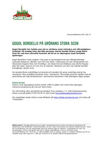 Gogol Bordello på Grönans Stora Scen