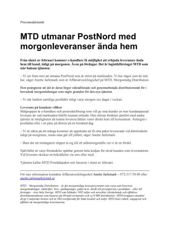 MTD utmanar PostNord med morgonleveranser ända hem