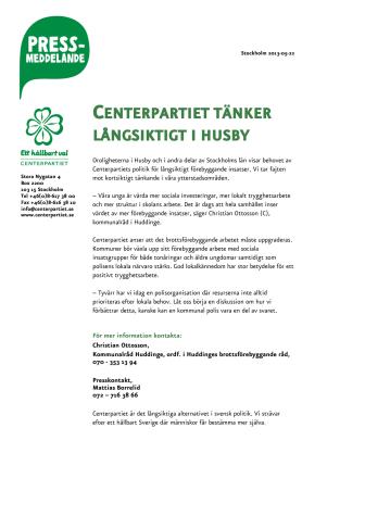Centerpartiet tänker långsiktigt i Husby