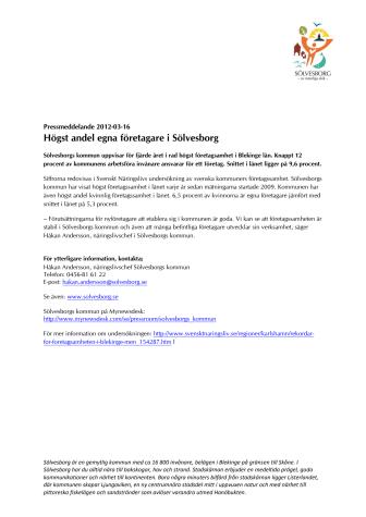 Högst andel egna företagare i Sölvesborg