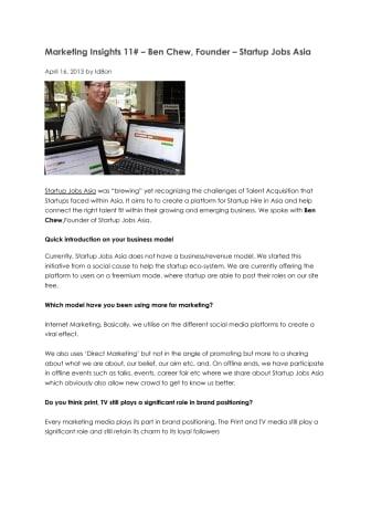 Marketing Insights 11# – Ben Chew, Founder – Startup Jobs Asia