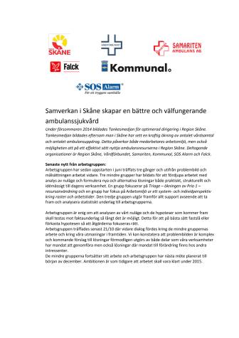 Samverkan i Skåne skapar en bättre och välfungerande ambulanssjukvård