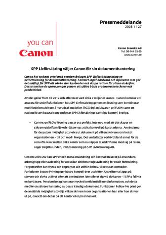 Pressmeddelande: SPP Livförsäkring väljer Canon för sin dokumenthantering