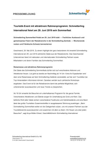Touristik-Event mit attraktivem Rahmenprogramm: Schmetterling International feiert am 29. Juni 2019 sein Sommerfest