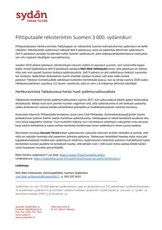 Pihtiputaalle rekisteröitiin Suomen 3 000. sydäniskuri