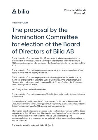 The proposal by the Nomination Committee for election of the Board of Directors of Bilia AB
