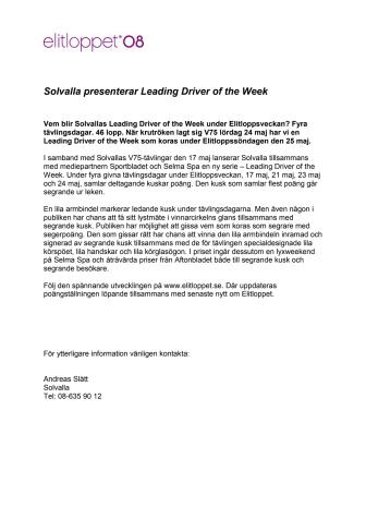 Solvalla presenterar Leading Driver of the Week