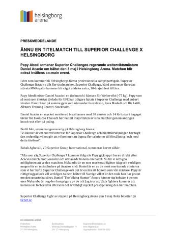 Ännu en titelmatch till Superior Challenge X Helsingborg