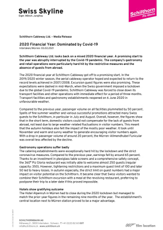 2020 FINANCIAL YEAR: DOMINATED BY COVID-19