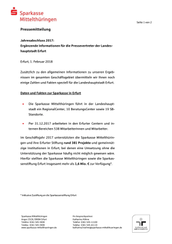 Jahresabschluss 2017: Ergänzende Informationen für die Pressevertreter der Landeshauptstadt Erfurt