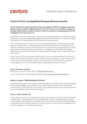 Centiro till final i prestigefyllda European Business Awards