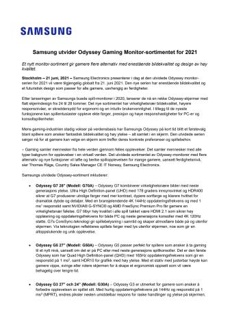 Samsung utvider Odyssey Gaming Monitor-sortimentet for 2021