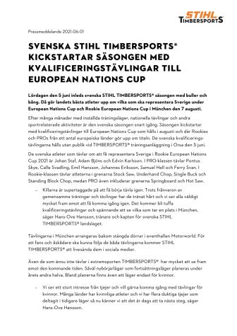 Svenska STIHL TIMBERSPORTS® kickstartar säsongen med kvalificeringstävlingar till European Nations Cup